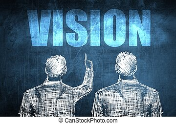 Two successful businessman showing vision, business concept...