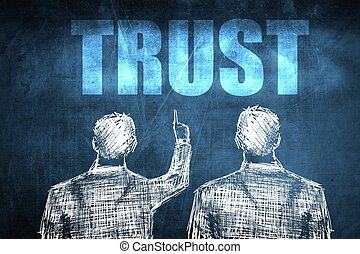 Two successful businessman showing trust, business concept...