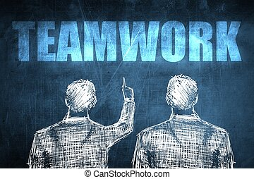 Two successful businessman showing teamwork, business...