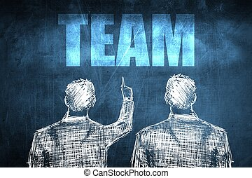 Two successful businessman showing team, business concept...