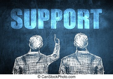 Two successful businessman showing support, business concept...