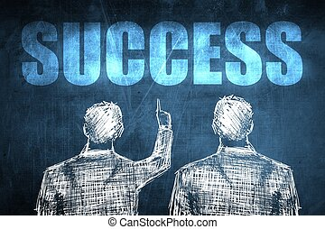Two successful businessman showing success, business concept...