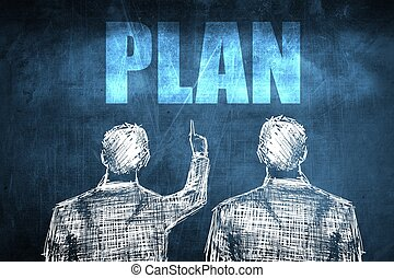 Two successful businessman showing plan, business concept...