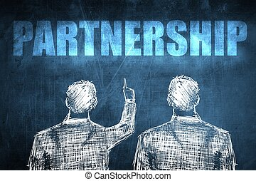Two successful businessman showing partnership, business...
