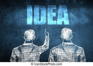 Two successful businessman showing idea, business concept...