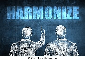 Two successful businessman showing harmonize, business...