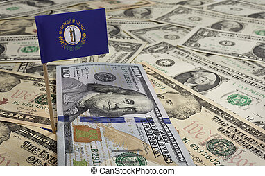 Flag of Kentucky sticking in various american banknotes.(series)