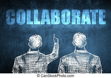 Two successful businessman showing collaborate, business...