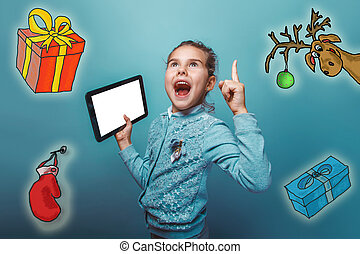 Christmas girl teen Keep your tablet idea lifted thumbs up...