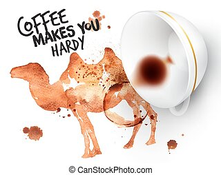 Poster wild coffee camel - Poster drawn coffee imprint of...