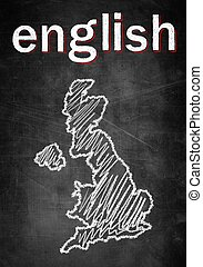 School concept of learning english language, map United Kingdom