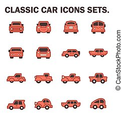 Classic car icons sets.