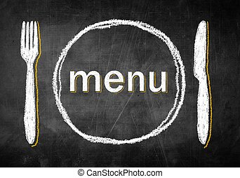 Menu chalk board with fork and knife, restaurant design -...
