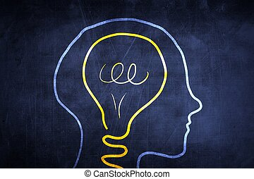 Idea sketch concept with light bulb in head