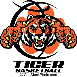 tiger basketball team design with mascot inside a basketball...