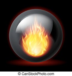 Sphere with fire flames - Black sphere with fire flames...