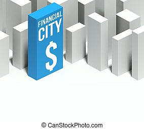 3d financial city conceptual model of downtown with distinctive skyscraper