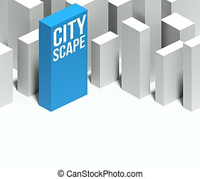 3d cityscape conceptual model of downtown with distinctive skyscraper
