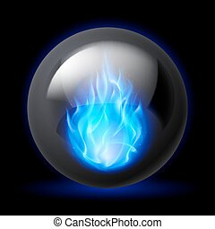 Sphere with fire flames - Black sphere with blue fire flames...