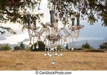 Chandelier on the tree part of the wedding decor