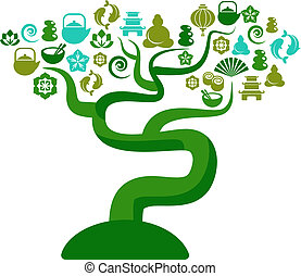 Green and blue tree with zen and yoga icons - Cutout vector...