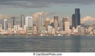 Pan of sunny Seattle skyline