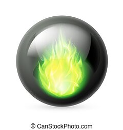 Sphere with fire flames - Black sphere with green fire...