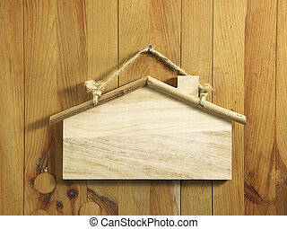 signage - Blank house shape wooden signage