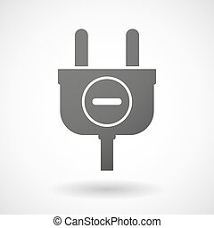 Isolated plug icon with a subtraction sign - Illustration of...