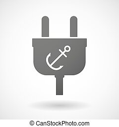 Isolated plug icon with an anchor