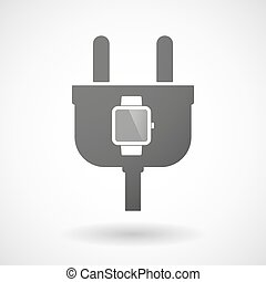 Isolated plug icon with a smart watch - Illustration of an...