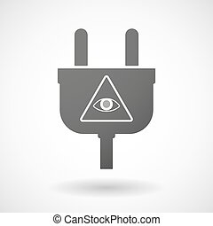 Isolated plug icon with an all seeing eye - Illustration of...