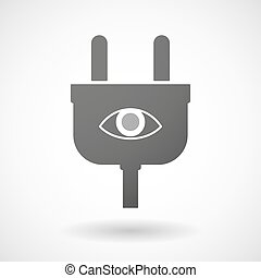 Isolated plug icon with an eye - Illustration of an isolated...