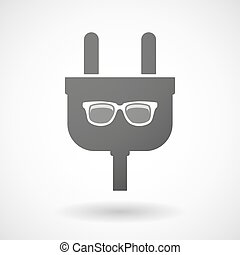 Isolated plug icon with a glasses - Illustration of an...