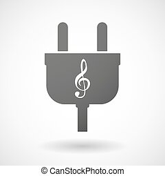 Isolated plug icon with a g clef - Illustration of an...
