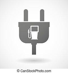 Isolated plug icon with a gas station