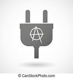 Isolated plug icon with an anarchy sign - Illustration of an...