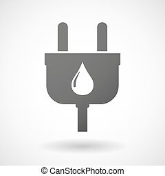 Isolated plug icon with a fuel drop