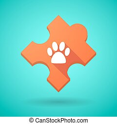 Long shadow puzzle icon with an animal footprint -...