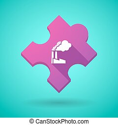 Long shadow puzzle icon with a factory