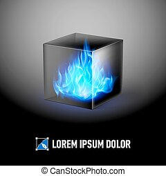Cube with fire flames - Logo Template with Black cube and...