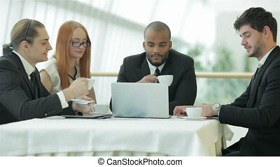 Young businessman drink coffee