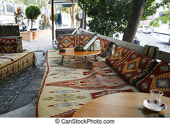 turkish outdoor cafe with carpets - turkish carpets used for...