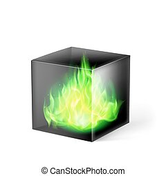 Cube with fire flames - Black cube with green fire flames...