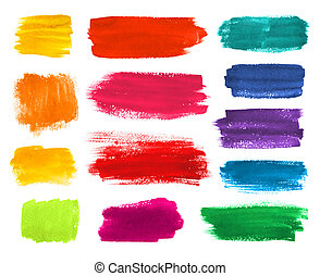 Brushstrokes banners collection. - Color hand drawn...