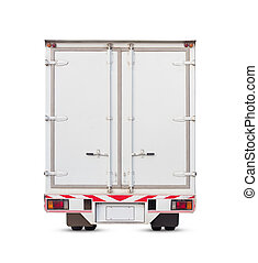 Cargo container and truck isolated on white, clipping path...