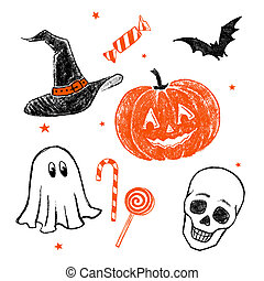 Halloween characters and objects - Collection of two color...