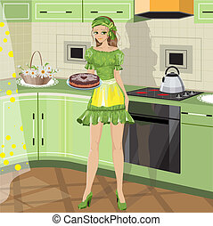 girl with baking in vector format
