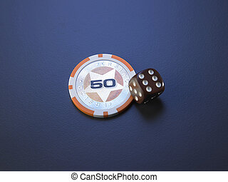 casino chip and dice - dice and casino chips on the blue...