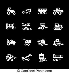 Set icons of agricultural machinery isolated on black
